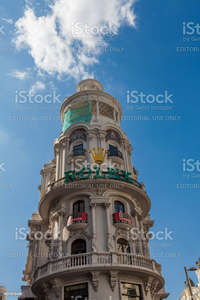 Edificio Grassy building in Madrid stock photo