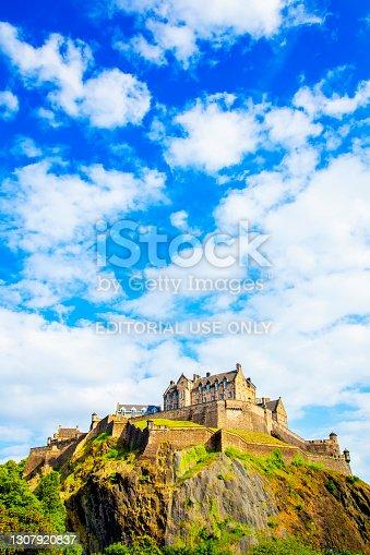 Scenic view of Edinburgh Castle on the hill, Scotland travel photo
