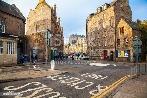 Edinburgh, Scotland - 18 November 2020: Edinburgh old town scenic view