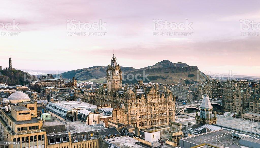 Edinburgh Aerial Panorama stock photo