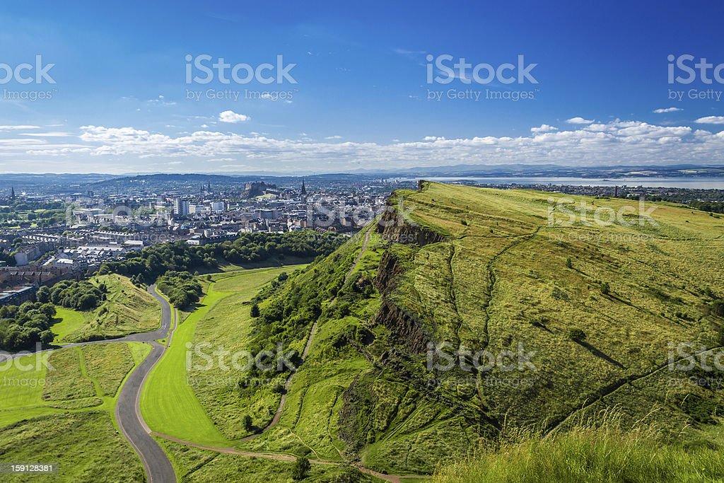 Edinburgh and green hills in summer stock photo