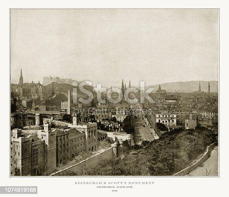 Antique Scotland Photograph: Edinburgh and Scott's Monument, Edinburgh, Scotland, 1893. Source: Original edition from my own archives. Copyright has expired on this artwork. Digitally restored.