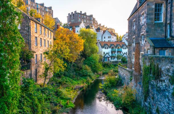 Edinburgh - architecture around the Water of Leith stock photo