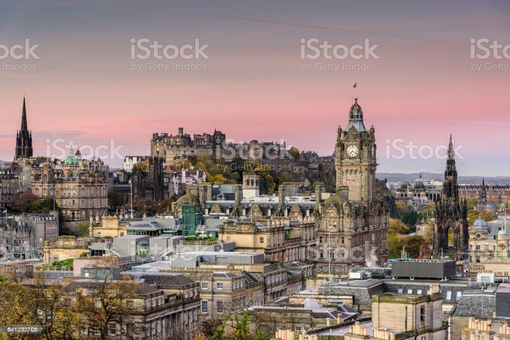 Edinburgh at sunrise - pink sky over the city stock photo