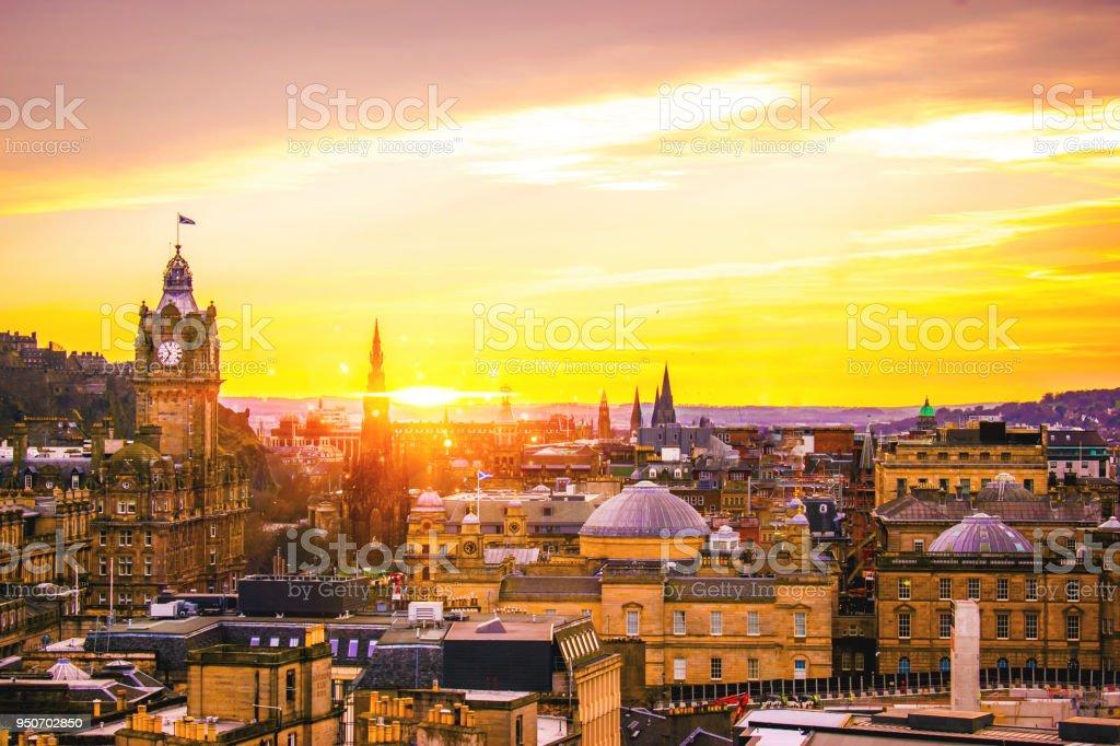 Edinburgh Building panoramic view city skyline with traditional Scottish architecture stock photo