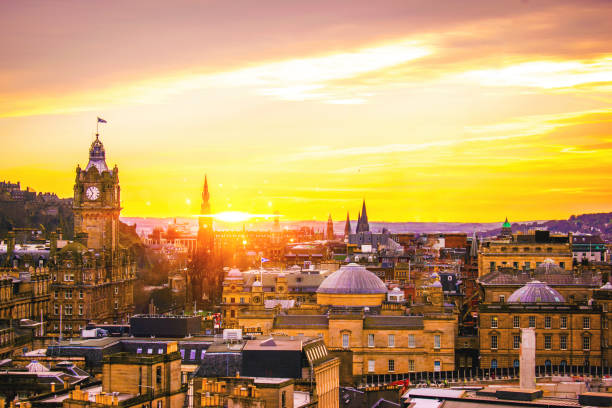 Edinburgh Building panoramic view city skyline with traditional Scottish architecture Edinburgh Building panoramic view city skyline with traditional Scottish architecture at sun set princes street edinburgh stock pictures, royalty-free photos & images