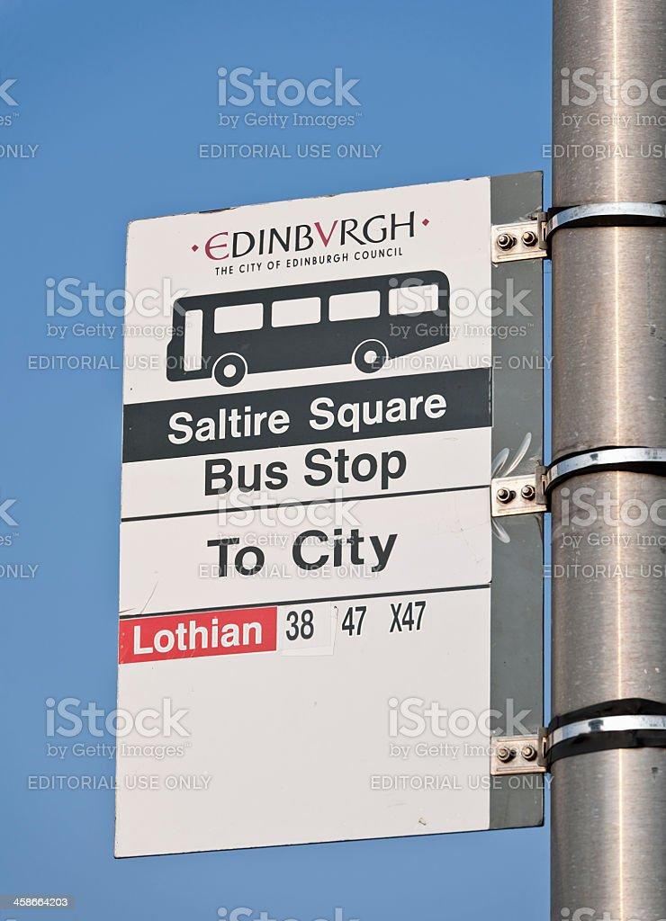 Edinburgh Bus Stop Sign stock photo