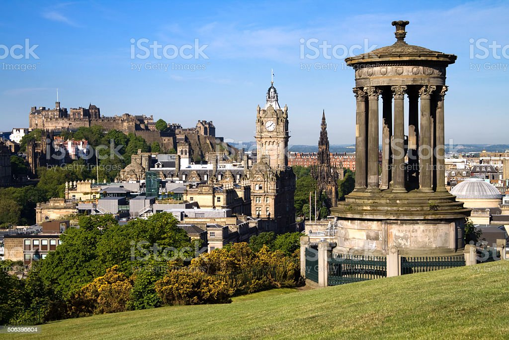 Edinburgh Castle and Cityscape in Summer stock photo