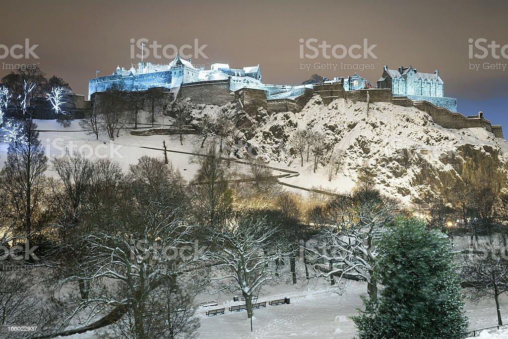 Edinburgh Castle at Night in Winter stock photo