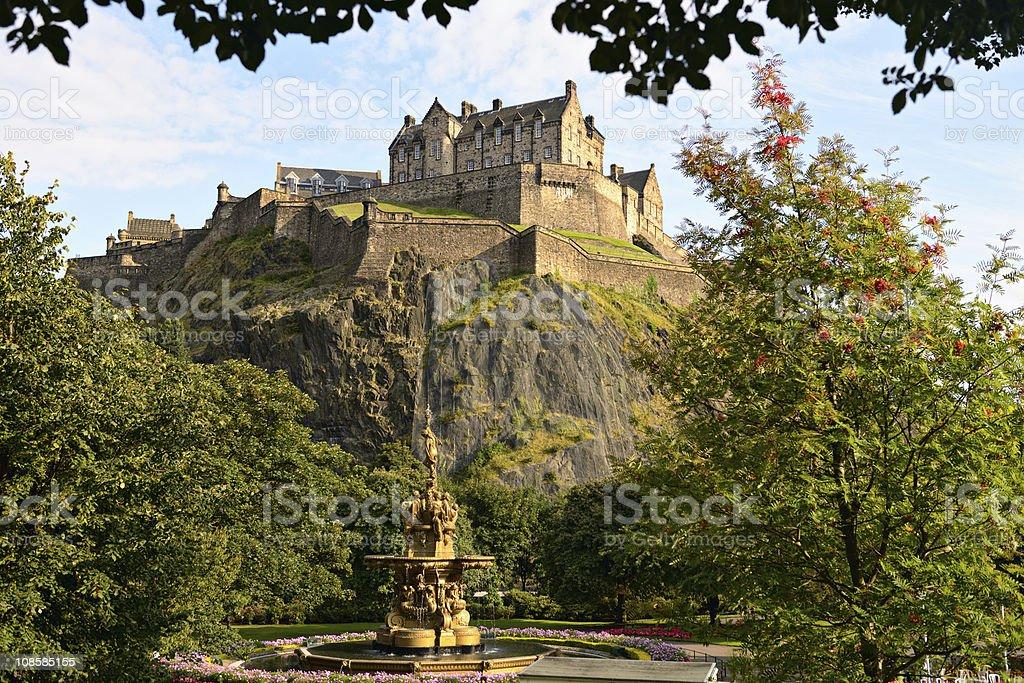 Edinburgh Castle, Scotland, from Princes Street Gardens, with Ross Fountain stock photo