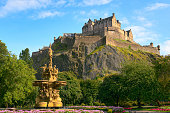 istock Edinburgh Castle, Scotland, from Princes Street Gardens, with Ross Fountain 108585159