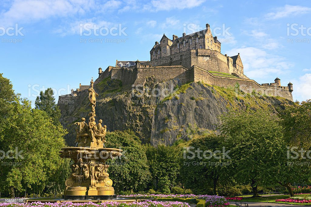 Edinburgh Castle, Scotland, from Princes Street Gardens, with Ross Fountain stock photo