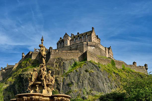 Edinburgh Castle viewed from Princess Street gardens stock photo
