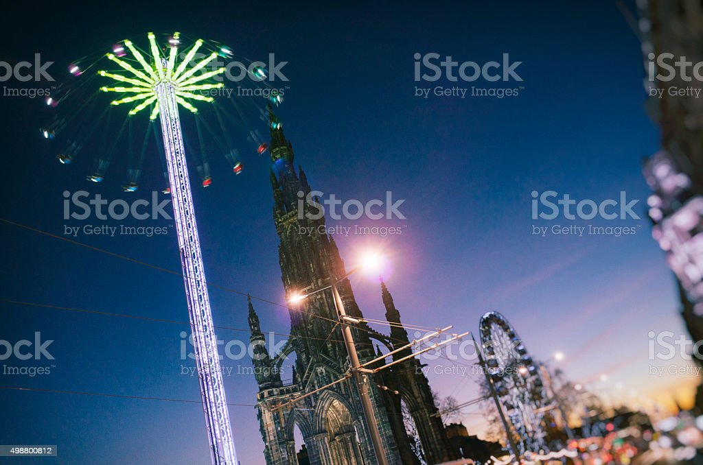 Edinburgh Christmas Festival Amusement Attractions stock photo
