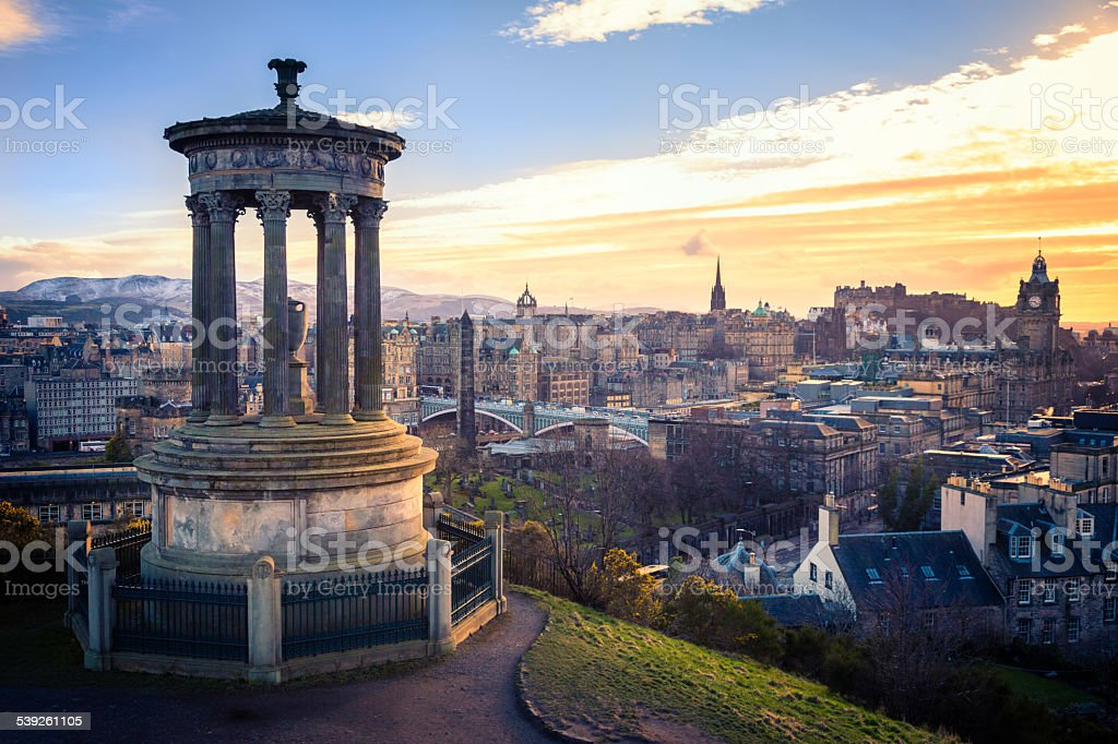 Edinburgh City and Castle From Calton Hill stock photo