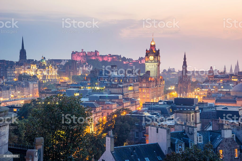 Edinburgh city from Calton Hill at night, Scotland, UK stock photo