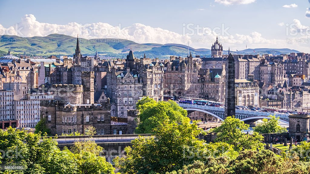 Edinburgh city from Calton Hill. stock photo