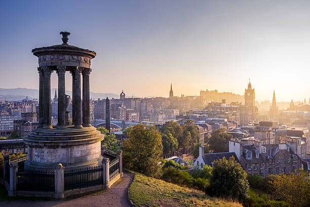 Edinburgh city im winter von Calton hill, Schottland, UK – Foto