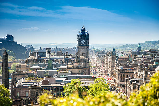 Edinburgh city, Scotland View from the Calton Hill to the Edinburgh city, Scotland edinburgh scotland stock pictures, royalty-free photos & images