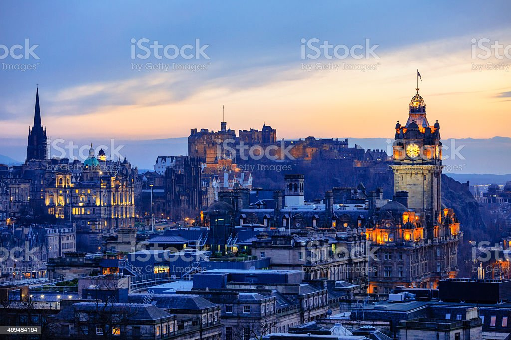 Edinburgh City Skyline After Sunset stock photo