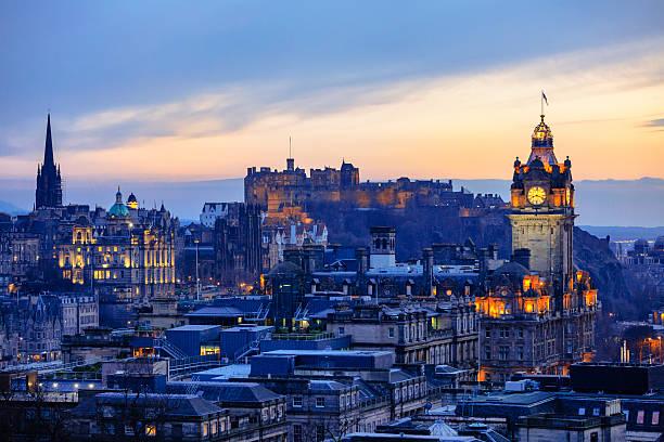 Edinburgh City Skyline After Sunset stock photo