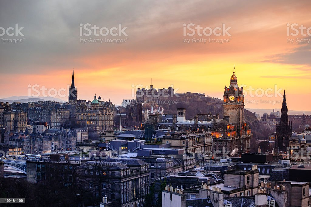 Edinburgh City Skyline At Sunset stock photo