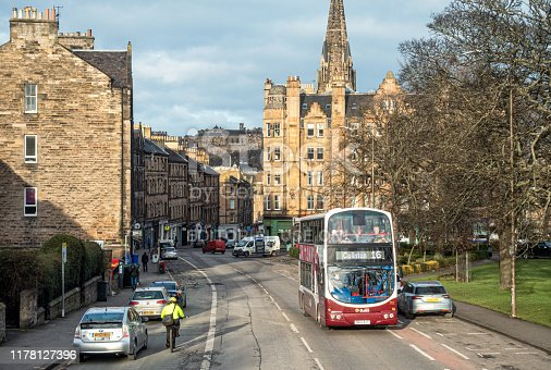 Edinburgh, Scotland - A high angle view of a street in Bruntsfield in winter, with part of Edinburgh Castle visible on the horizon.