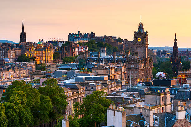 Edinburgh Cityscape, Scotland Looking over the city of Edinburgh at dusk from Calton Hill, Scotland. princes street edinburgh stock pictures, royalty-free photos & images