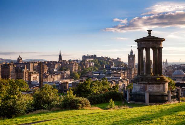 Edinburgh cityscape viewed from Calton Hill Scotland UK stock photo