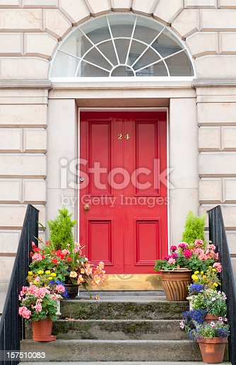 Flowers decorating a shared entrance to flats / apartments in Edinburgh's New Town