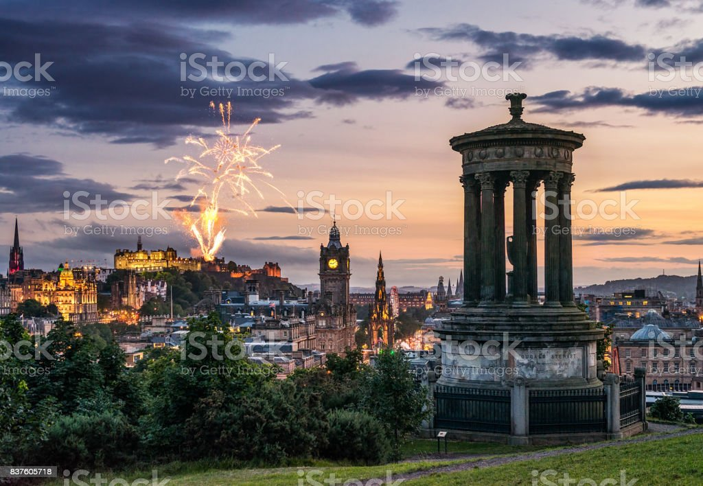 Edinburgh fireworks at dusk from Calton Hill stock photo