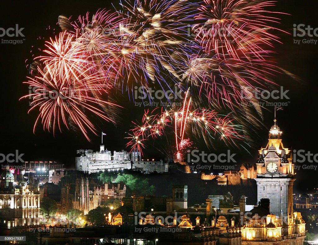 Edinburgh Fireworks stock photo