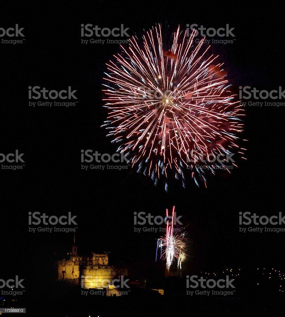 Edinburgh Fireworks Series royalty-free stock photo