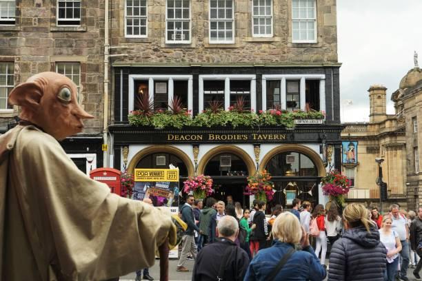 Edinburgh Fringe, High Street visitors stock photo
