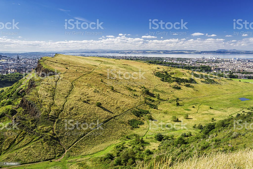 Edinburgh from the top of Arthur Seats stock photo