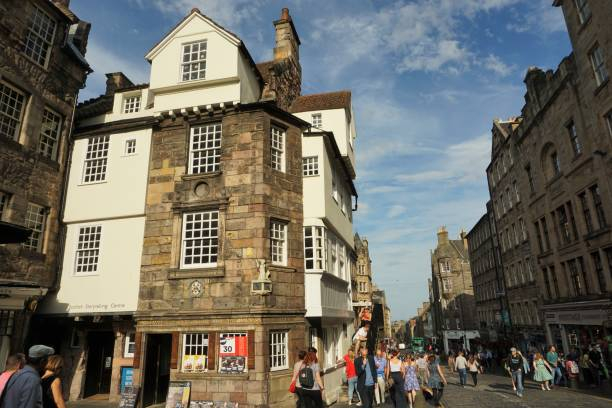 Edinburgh High Street, John Knox house stock photo