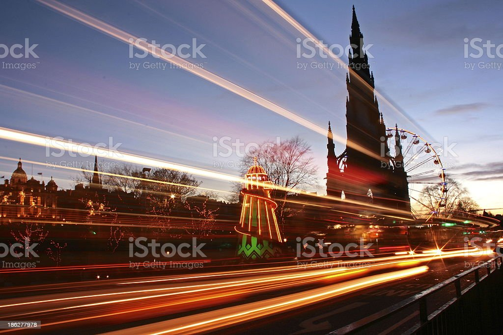 Edinburgh Light Streaks stock photo