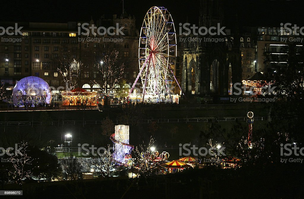 Edinburgh lights at Christmas and New Year royalty-free stock photo