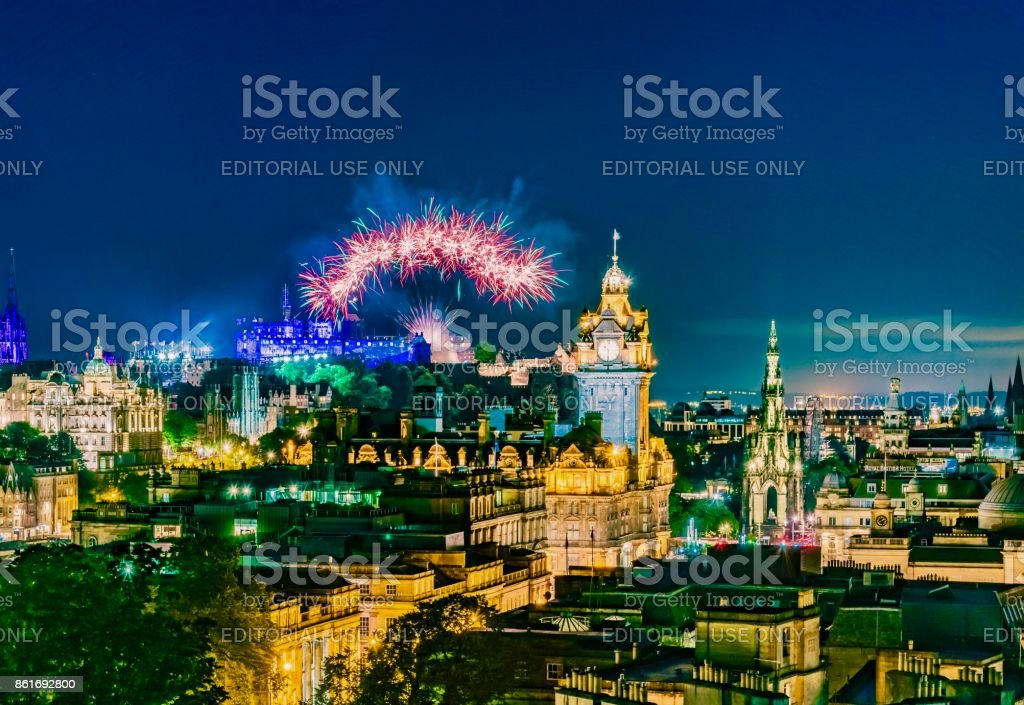 Edinburgh night stock photo