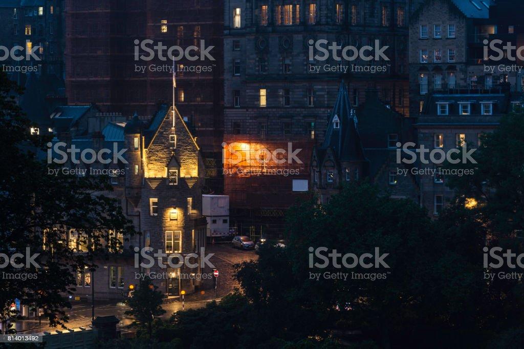 Edinburgh, night view of old town stock photo