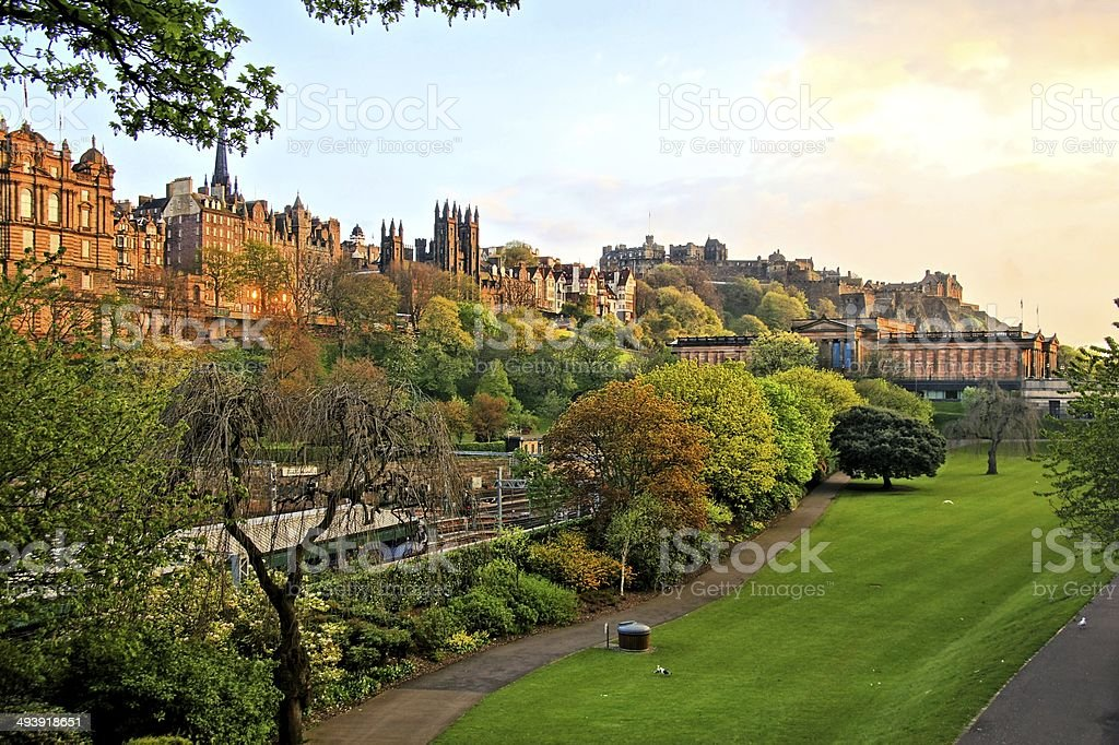 Edinburgh Old Town scene at sunset stock photo