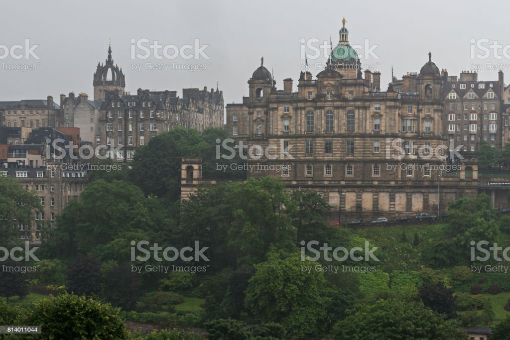 Edinburgh old town view in a rainy afternoon stock photo