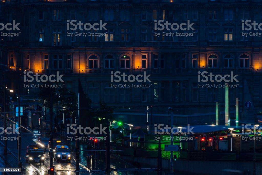 edinburgh princes street night view stock photo