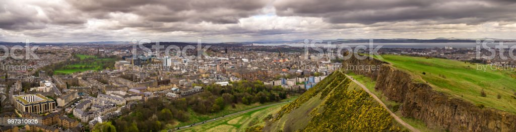 Edinburgh, Scotland - Aerial Panorama stock photo