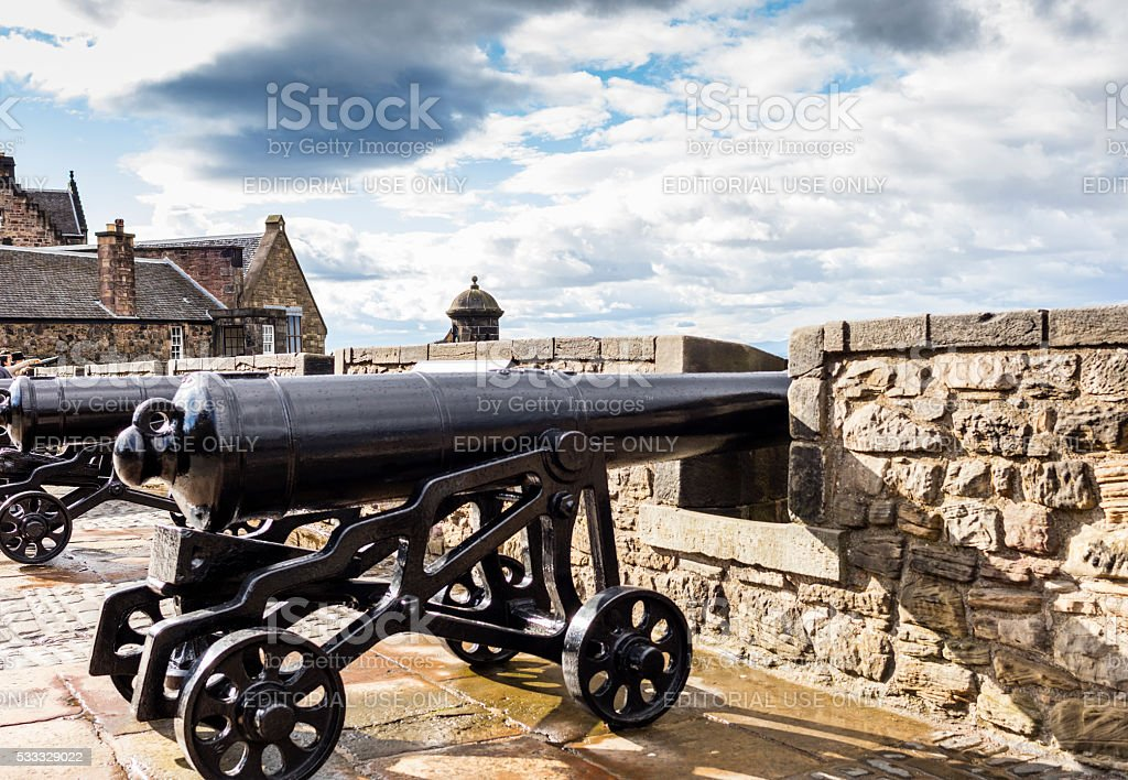 Edinburgh, Scotland. Cannons on the Castle ramparts stock photo