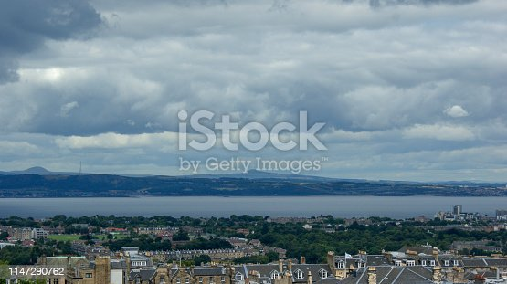 View of the city of Edinburgh from Castlehill and the coast