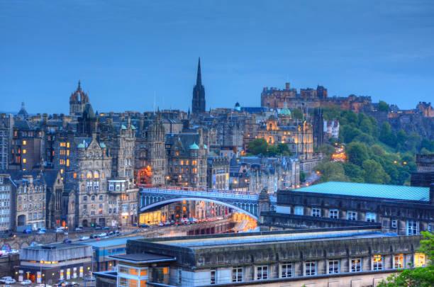 Edinburgh, Scotland View of Edinburgh, Scotland, UK. princes street edinburgh stock pictures, royalty-free photos & images