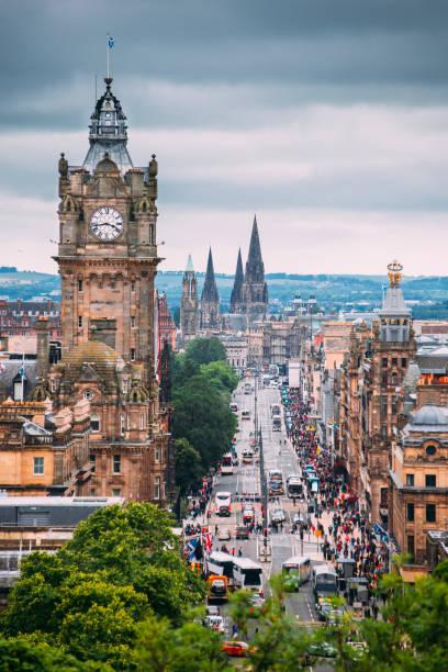 Edinburgh, Scotland The city of Edinburgh in Scotland. Princes Street can be seen. princes street edinburgh stock pictures, royalty-free photos & images