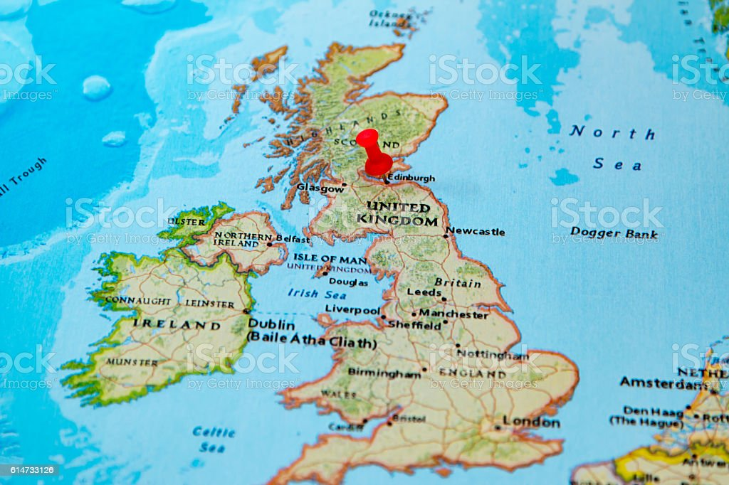 Edinburgh Scotland Pinned On A Map Of Europe Stock Photo More
