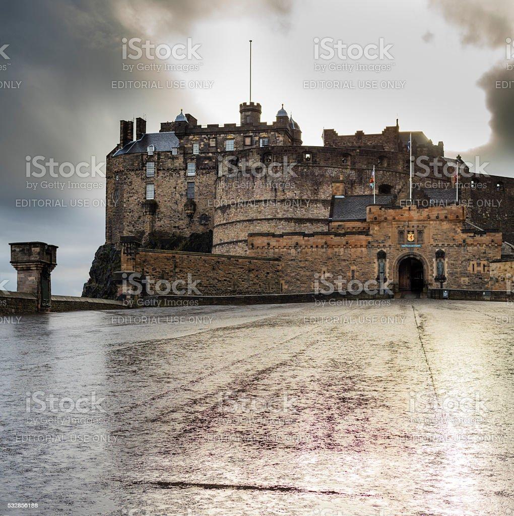 Edinburgh, Scotland. The sun is setting behind the Castle stock photo